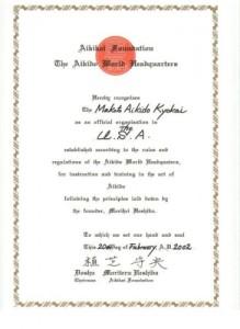 Official Hombu Dojo Certificate